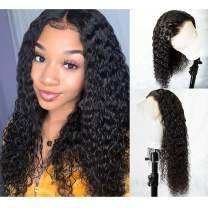 360 Lace Frontal Wigs 180% Density Water Wave Human Hair Wigs with Baby Hair for Black Women Natural Color 14inch