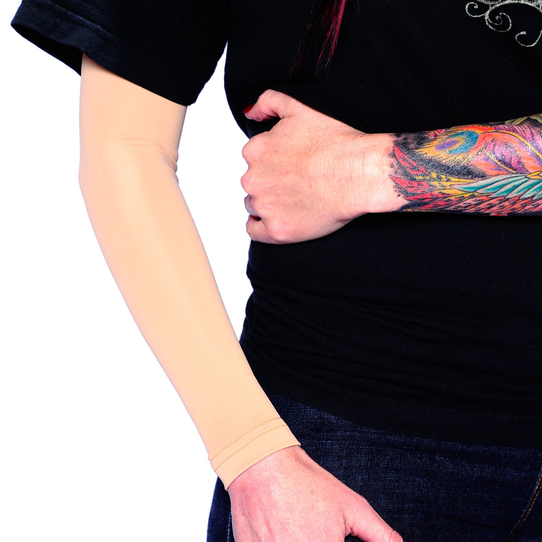 Tat2X Ink Armor Premium Full Arm Tattoo Cover Up Sleeve - No Slip Gripper - U.S. Made - Light - ML (one Sleeve)