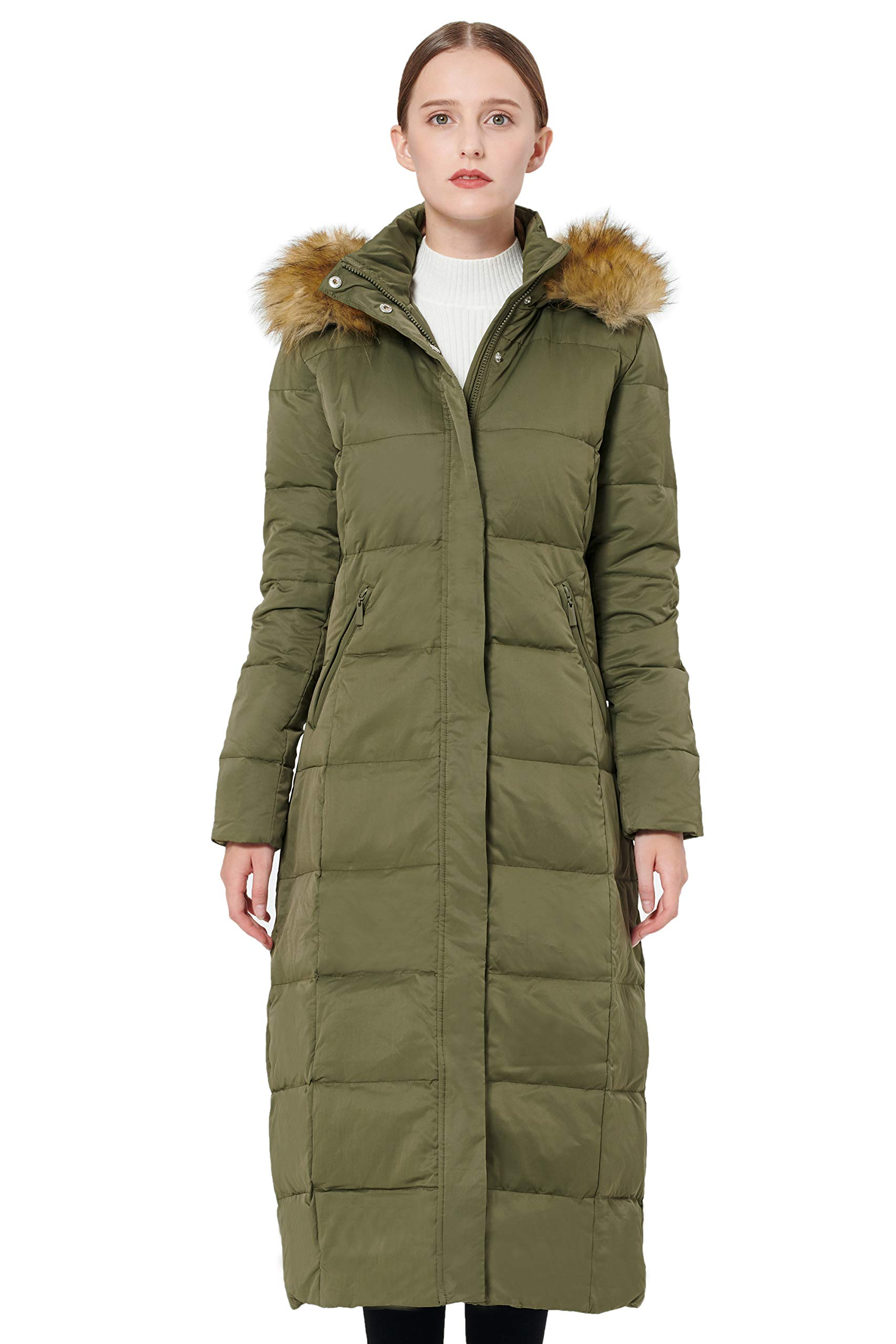 Orolay Women's Maxi Puffer Down Coat with Faux Fur Hood