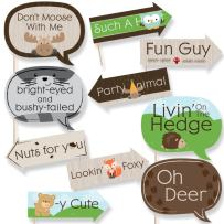 Funny Woodland Creatures - Baby Shower or Birthday Party Photo Booth Props Kit - 10 Piece
