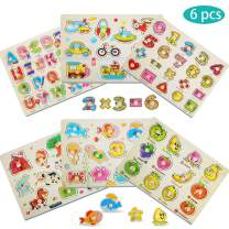 ThinkMax 6 Pcs Wooden Peg Puzzles for Toddlers, Knob Puzzles - Alphabet, Numbers, Fruits, Animals and Vehicles