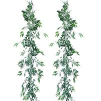 Pauwer 2 Pack Artificial Willow Leaves Vine Silk Fake Hanging Greenery Garland Willow Twigs Plant Foliage for Wedding Party Wreath Wall Indoor Outdoor Decor