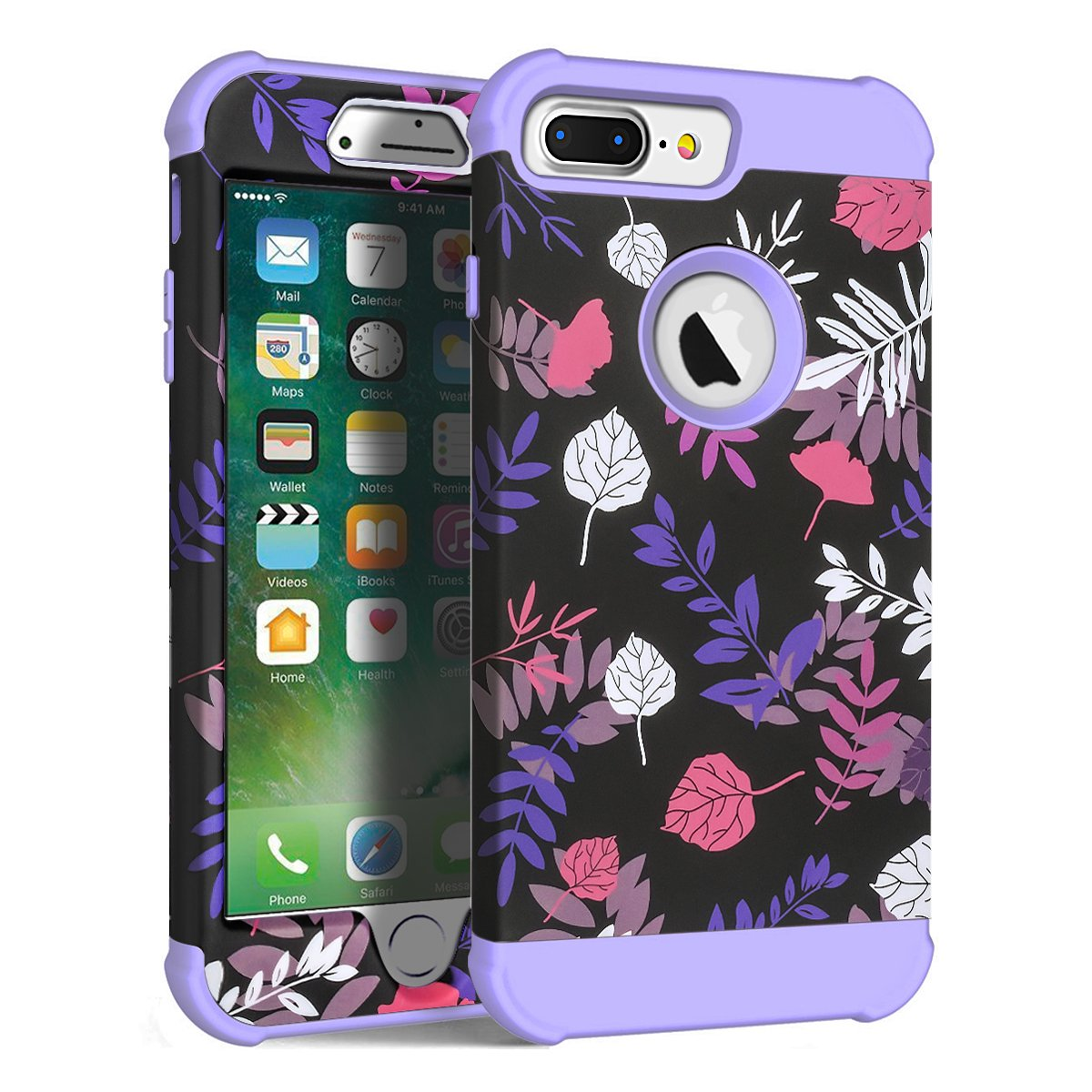 MAXCURY Flower Series Three Layer Heavy Duty Hybrid Sturdy Armor High Impact Resistant Protective Cover Case for iPhone 6 Plus/iPhone 6s Plus/iPhone 7 Plus/iPhone 8 Plus in 5.5 Inch (Leaf/Lilac)
