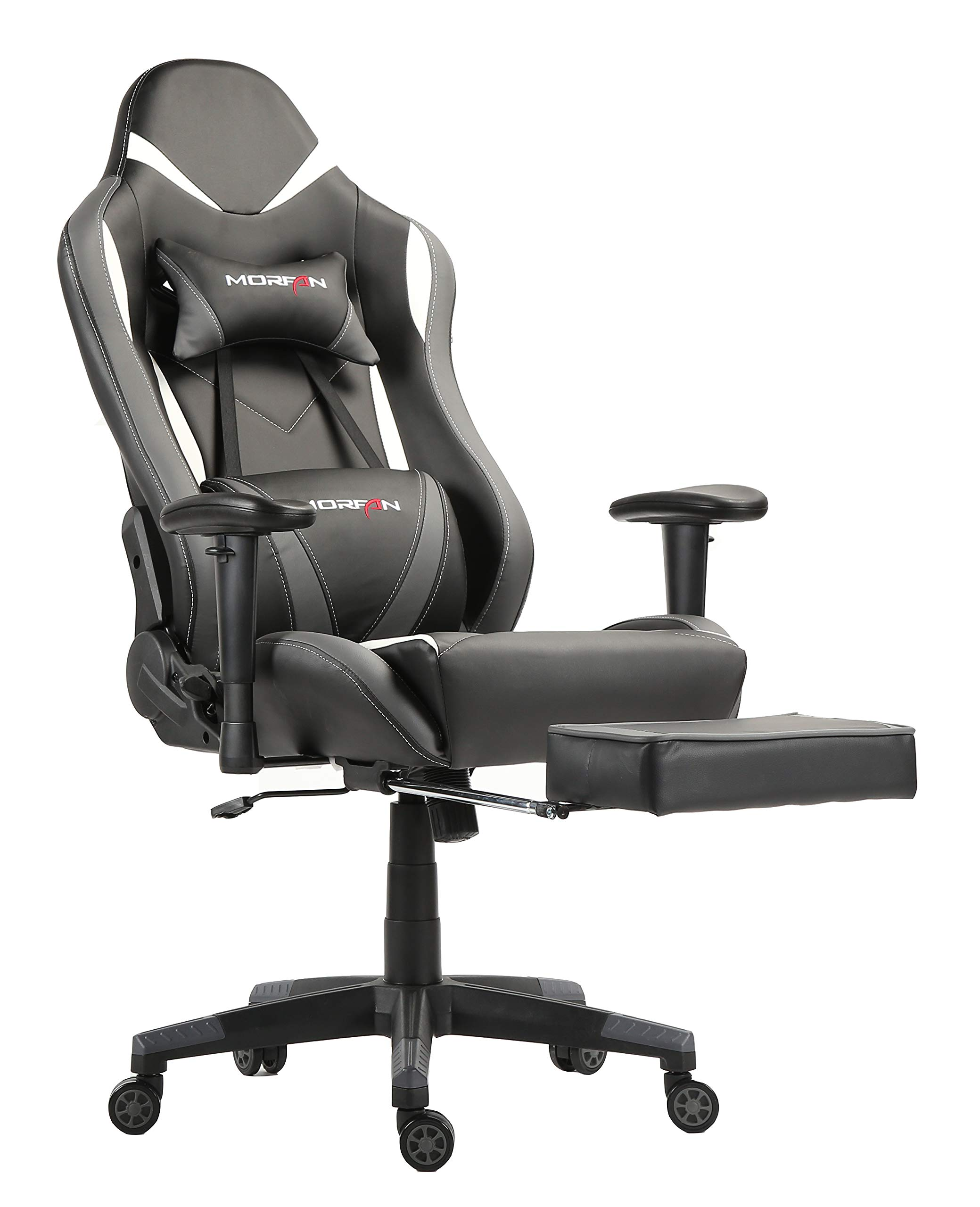 MORFAN Gaming Chair Large Size High Back Office Chair with Footrest Computer Desk Chair Like Silver (Grey)