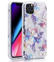 """BAISRKE iPhone 11 Pro Max Case, iPhone 11 Pro Max Case Clear with Floral Pattern [Fusion] Hard PC Back Soft TPU Bumper Raised Edge Drop Protection Cover for iPhone 11 Pro Max 6.5"""" - Purple Floral"""