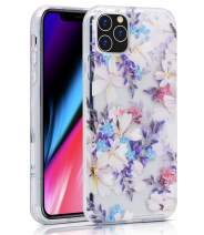 "BAISRKE iPhone 11 Pro Case, iPhone 11 Pro Case Clear with Floral Pattern [Fusion] Hard PC Back Soft TPU Bumper Raised Edge Drop Protection Cover for iPhone 11 Pro 5.8"" 2019 - Purple Floral"