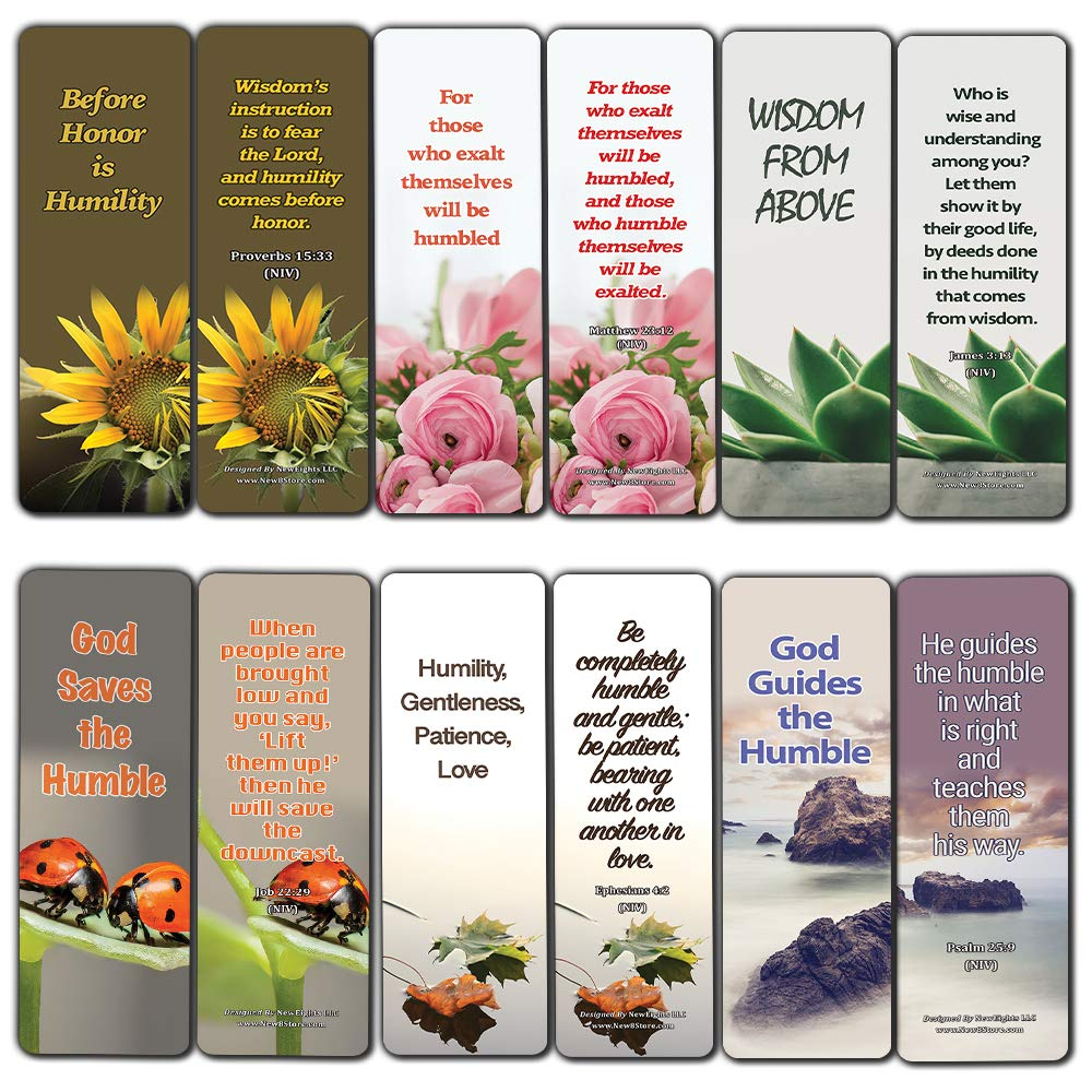 Bible Verses About Being Humble Bookmarks (60-Pack) - Perfect Giveaways for Sunday Schools and Ministries