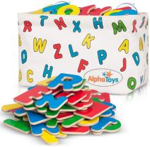 Premium ABC Refrigerator Magnets + Hanging Storage Basket - 83 Brightly Colored Wooden Magnetic Letters – Educational Alphabet Gift & Preschool Learning – Upper & Lowercase + Extra Vowels