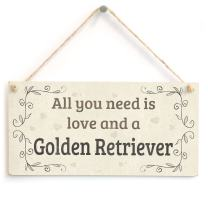 """Meijiafei All You Need is Love and A Golden Retriever - Country Home Style Home Accessory Gift Sign for Golden Retriever Dog Owners 10""""x5"""""""