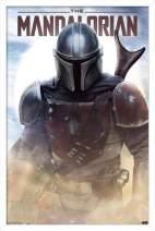 "Trends International Star Wars: The Mandalorian - Battle, 14.725"" x 22.375"", White Framed Version"