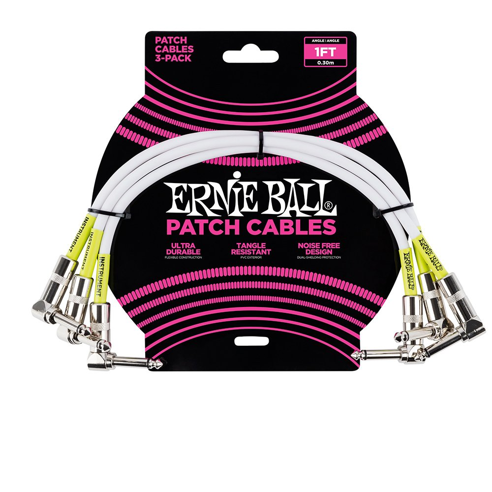 Ernie Ball Instrument Cable, White, 1 ft