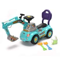 WonderPlay Digger Scooter, Ride-on Excavator, Pulling Cart, Pretend Play Construction Truck for Boys and Girls (Blue)