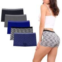 Womens Seamless Underwear Boyshort Ladies Panties Nylon Panty Sleep Boxer Briefs 5 Pack