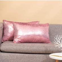 Eternal Beauty Set of 2 Sequin Decorative Pillow Cover Pink Lumbar Pillow Covers for Couch Lumbar Pillows 12 X 20 Inches