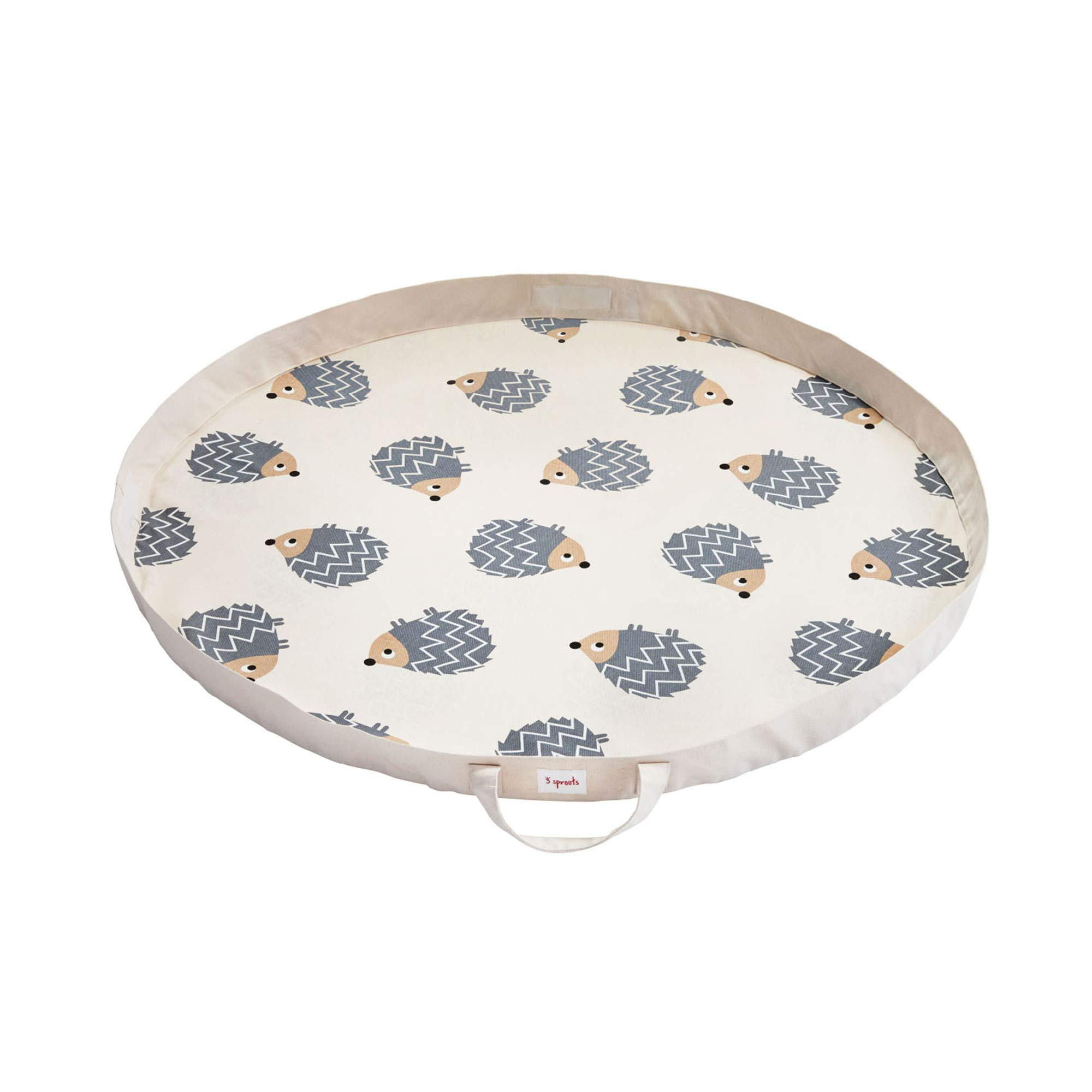 3 Sprouts Play Mat Bag – Large Portable Floor Activity Rug for Baby Storage, Hedgehog