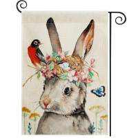 DOLOPL Summer Garden Flag 12.5x18 Inch Double Sided Decorative Watercolor Bunny Flowers Bird Eggs Nest Small Yard House Garden Flags for Summer Outdoor Indoor Decoration