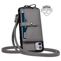 JM JUST MUST iPhone 11 Wallet Case,iPhone 11 Crossbody Case with Credit Card Holder case,iPhone 11 Strap Case,Leather Case Protective Cover for iPhone 11 6.1 inch_Grey