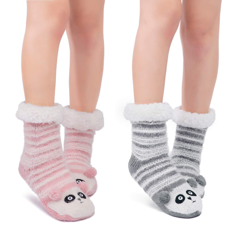 Littleforbig Cute Animal Super Soft Warm Thick Fuzzy Fleece Lined Cozy Winter Slipper Calf Socks 2 Pairs
