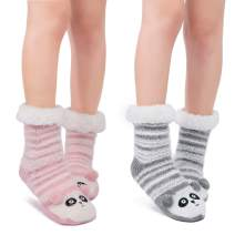Littleforbig Cute Animal Super Soft Warm Thick Fuzzy Fleece Lined Cozy Winter Slipper Calf Socks 2 Pairs