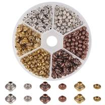 PH PandaHall 1 Box 450 PCS 6.5mm/ 5x3mm Tibetan Alloy Spacer Beads Jewelry Findings Accessories Bracelet Necklace Jewelry Making (Antique Golden, Antique Silver, Red Copper)