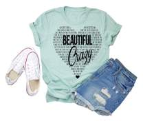 GEMLON Concert Tees for Women Country Shirts Cute Heart Graphic Tees Short Sleeve Inspire Tops Blouse