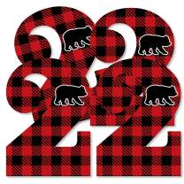 Big Dot of Happiness 2nd Birthday Lumberjack - Channel The Flannel - Two Shaped Decorations DIY Buffalo Plaid Second Birthday Party Essentials - Set of 20
