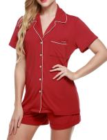 Ekouaer Pajamas Set Short Sleeve Sleepwear Womens Button Down Nightwear Soft Pj Lounge Sets XS-XXL