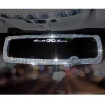 LuckySHD Bling Rhinestone Car Rear View Mirror Crystal Diamond Rear View Mirror Cover for Women (White)