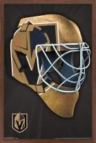 """Trends International NHL Vegas Golden Knights - Mask, 14.725"""" x 22.375"""", Mahogany Framed Version"""