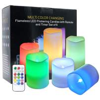 DRomance Color Changing Candles with Remote Set of 6 Battery Operated LED Lights, Real Wax Flameless Candles for Romantic Parties Decoration Mood Light