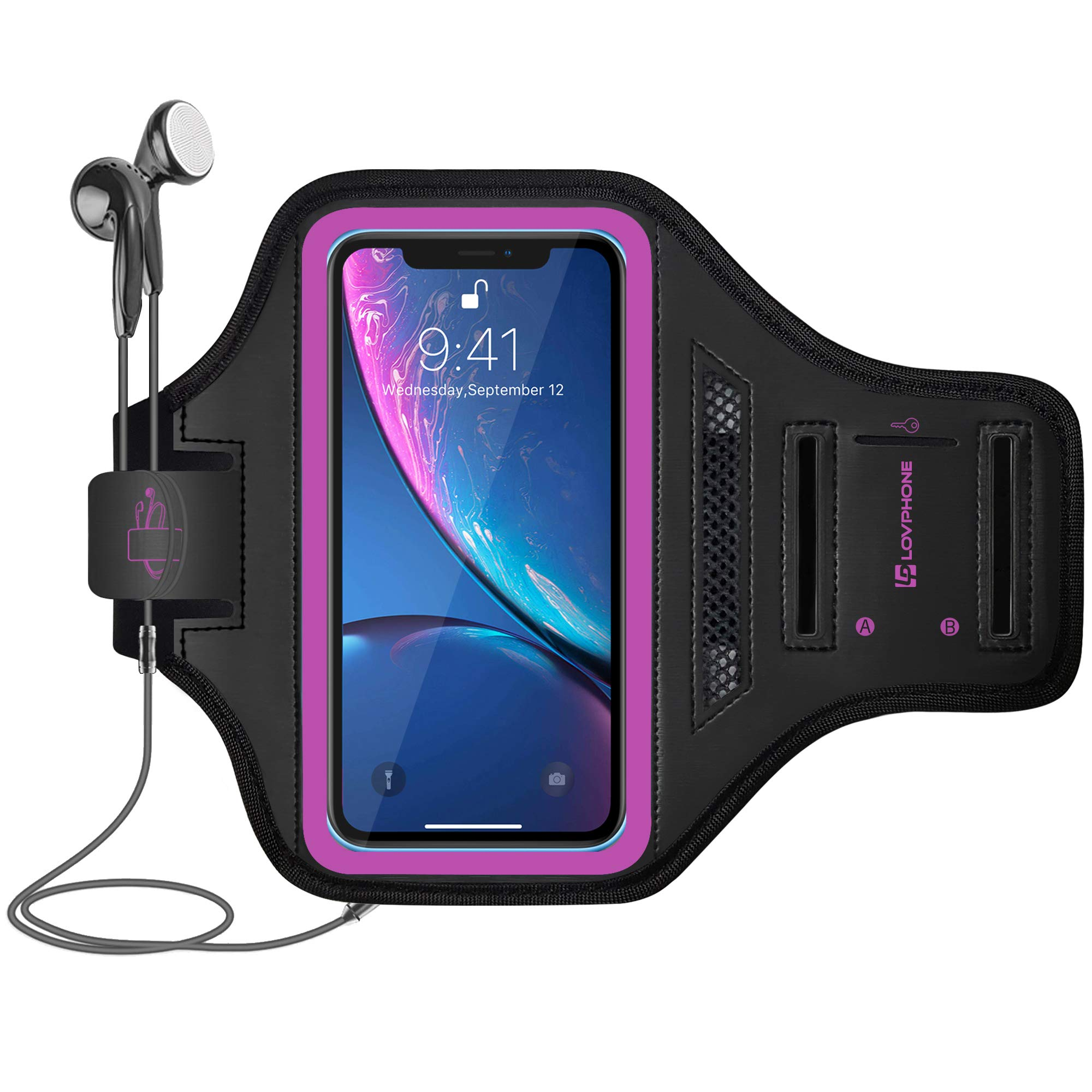 LOVPHONE iPhone 11 Pro Max/iPhone 11 Pro/iPhone Xs Max/iPhone XR Armband, Waterproof Sport Outdoor Gym Case with Running Key Holder Card Slot Phone Case Bag Armband (Rosy)