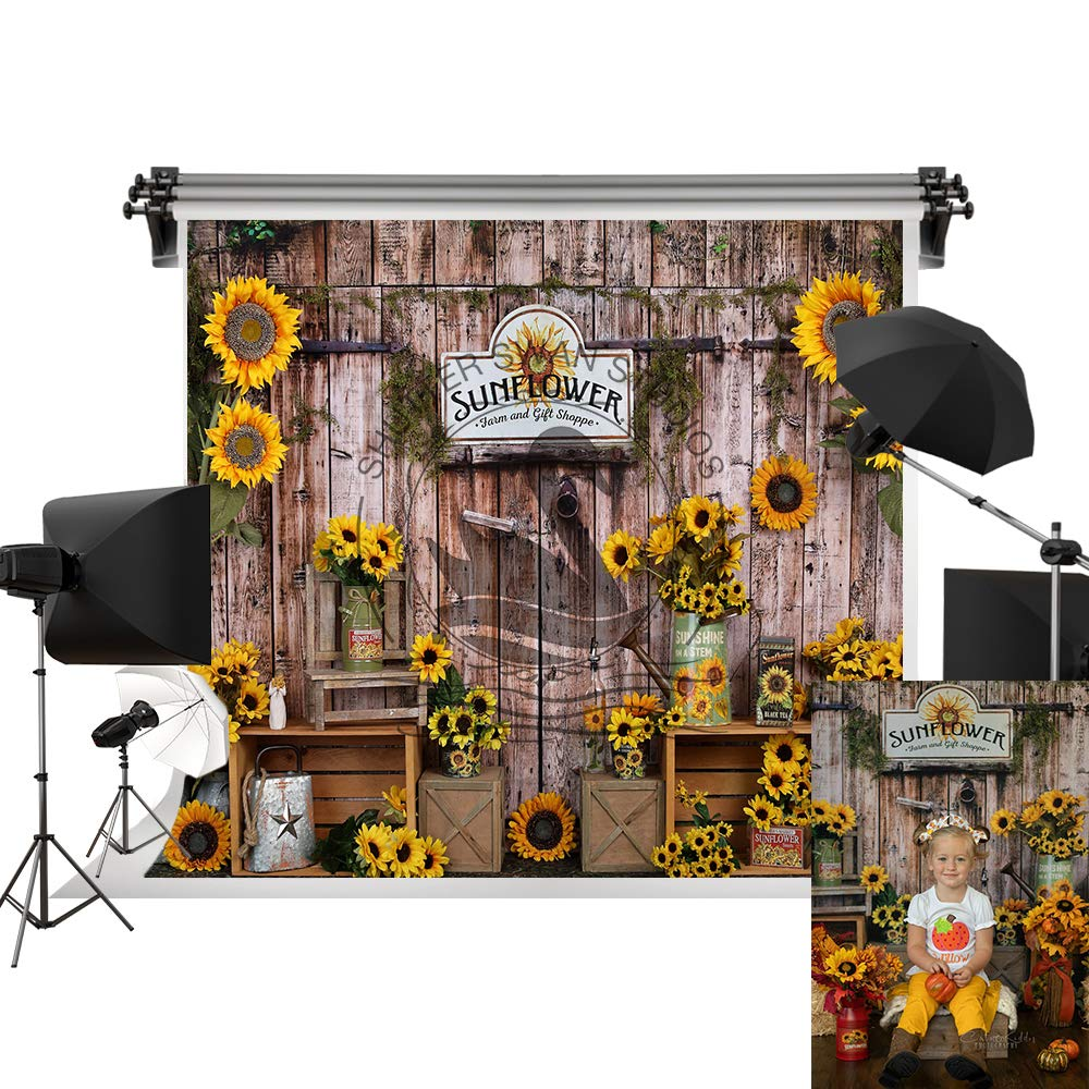 Kate 7x5ft/2.2m(W) x1.5m(H) Sunflower Backdrop Wood Real Scene Photography Background Summer Holiday Party Backdrops Party Decoration Backdrop