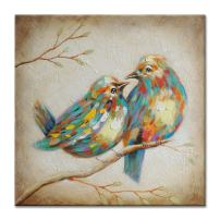 SEVEN WALL ARTS - 100% Hand Painted Oil Painting Animal Colorful Animal Painting with Stretched Frame Wall Art for Home Decor Ready to Hang (40 x 40 Inch, Quirky Birds)