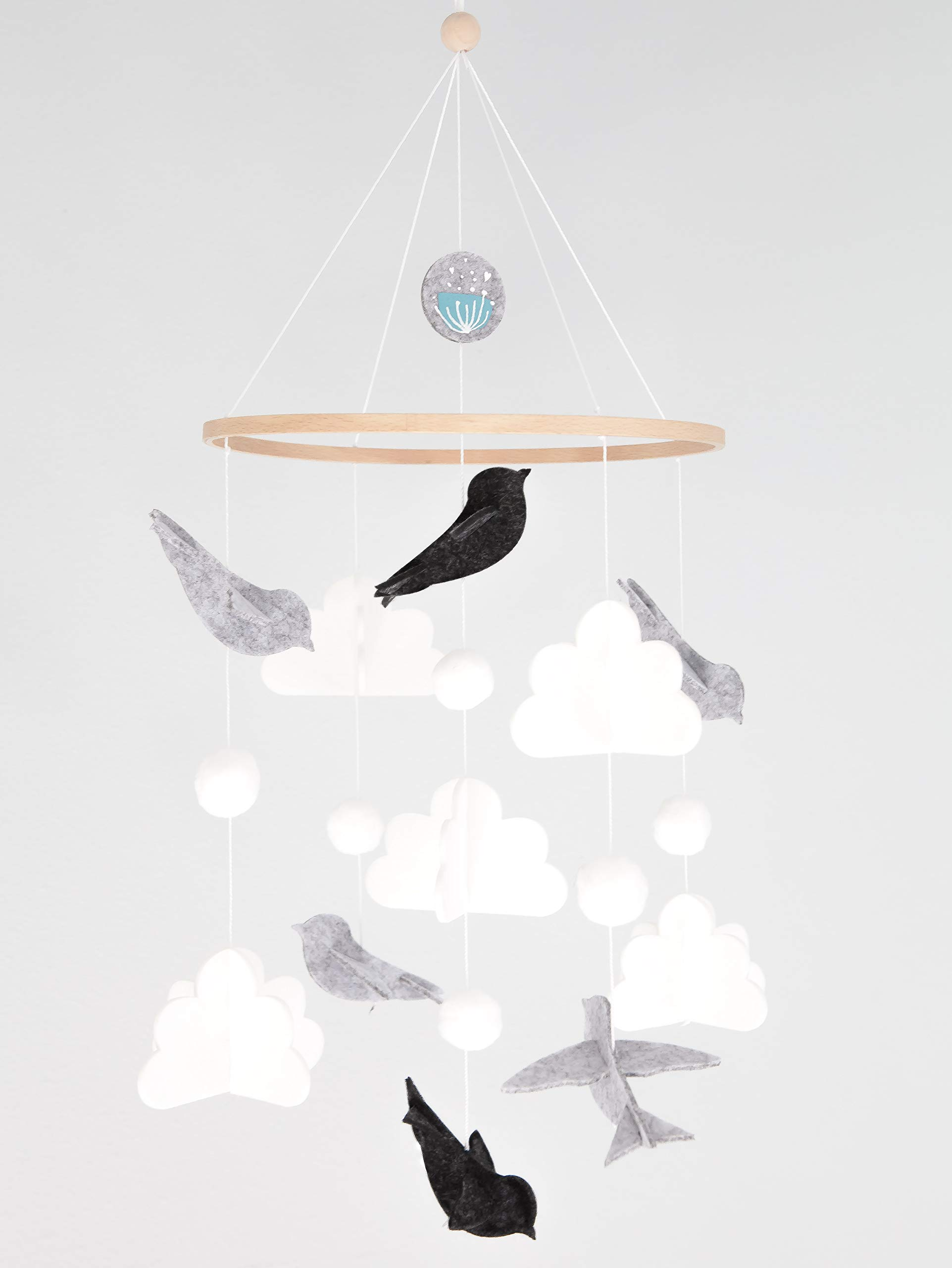Baby Crib Mobile for Boys and Girls: Baby Shower Gift Set Nursery Decor Infant Bedroom Hanging Decoration Toy Newborn Registry (Modern Unisex Wool Woodland Bird Cloud) Grey