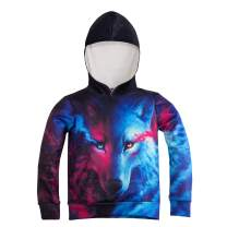 Kids Wolf Hoodie Boys Teens Girls 3D Animal Galaxy Print Sweatshirt Pullover