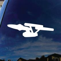 "SoCoolDesign Classic USS Trek Car Window Vinyl Decal Sticker 6"" Wide (White)"