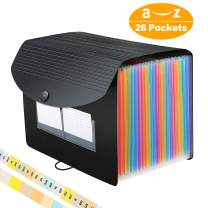 26 Pockets Accordian File Organizer/Expanding File Folder A4 Letter Size Expandable Filling Box/Plastic Accordion Document Paper Coupon Bill Receipt Organizer Bag, 3 A-Z Alphabet Dividers Colored Tabs