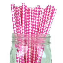 Just Artifacts - Decorative Paper Straws 100pcs - Harlequin Diamond Pattern - Bubblegum Pink