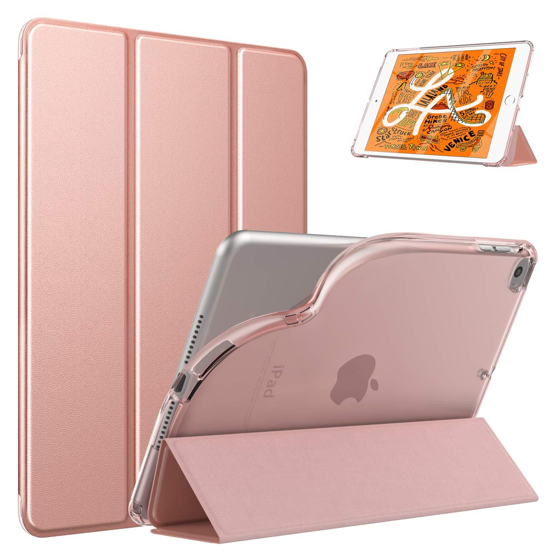 Dadanism New iPad Mini 5 Case, iPad Mini 2019 Case 5th Generation, iPad Mini 4 Case, [Flexible TPU Translucent Back Shell] Ultra Slim Lightweight Trifold Stand Cover with Auto Sleep/Wake - Rose Gold
