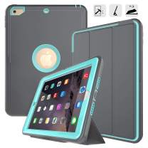 iPad 9.7 2017/2018 case - DUNNO Heavy Duty Full Body Rugged Protective Case with Auto Sleep/Wake Up Stand Folio & Three Layer Design for Apple iPad 9.7 inch 2017/2018 (Grey/Light Blue)
