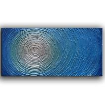 YaSheng Art - 3D Metallic Bead Light Blue Texture Oil Painting on Canvas Abstract Art Pictures Canvas Wall Art Paintings Modern Home Decor Abstract Paintings Ready to Hang 20x40inch