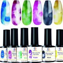 FIGHTART Magic Blooming Nail Polish Watercolor Ink Flower Blossom Marble Design Manicure Pedicure Nail Art 10ml Each 6 Colors