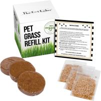 CAT Grass/PET Grass Refill KIT – 3 Pack: Refill kit for Item #B01I5XHWI6 and B01JNI9W9E: 100% Organic pet Grass kit/cat Grass kit.Natural Hairball Control and Hairball Remedy for Cats.
