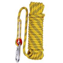 Aoneky 12 mm Static Outdoor Rock Climbing Rope, Fire Escape Safety Survival Rope (Yellow 3, 65 ft)