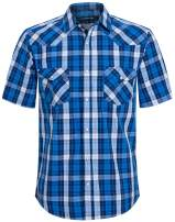 Mens Short Sleeve Western Shirts with Pearl Snap Button Up Casual Regular Fit Plaid Shirts