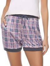 Hawiton Women Plaid Sleeping Pajama Sleepwear Exercise Fitness Shorts