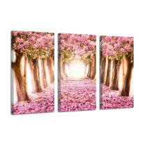 Landscape Pictures Tree Alley Artwork: Forest Path with Pink Bloom Flowers, Paintings Print on Wrapped Canvas for Wall Arts Set