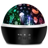 Moredig Star Night Light Projector, 8 Colors Rotating Light Projector for Baby with Star and Ocean Theme for Children Bedroom - Black