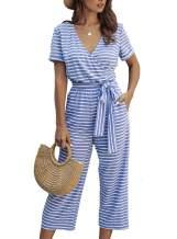 PRETTYGARDEN Women's Short Sleeve Wrap V Neck Striped Jumpsuit Wide Leg Pants Loose Romper with Pockets and Belts