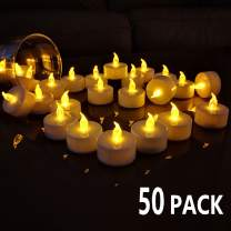 TEECOO Battery Tea Lights Electric Candles Flickering: Realistic Flameless LED Tealights Long Lasting Operated Candles in Yellow 50pcs Decoration for Party and Gifts Ideas